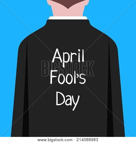 april fool day like man in suit prank. concept of party, offense, male, shirt, crazy jester, spoof, practical joke, victim, event. flat style trend modern graphic cartoon design on blue background