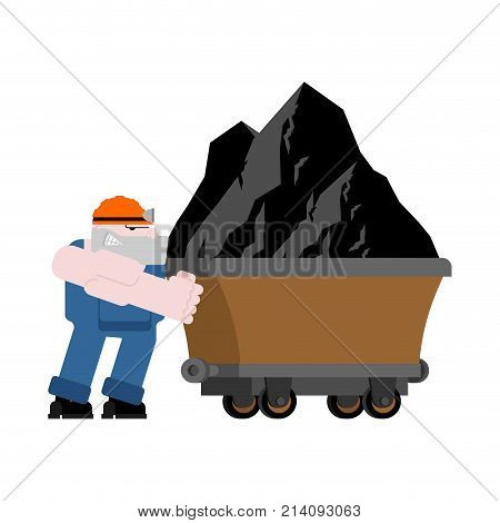Miner And Trolley Of Coal. Mining Extraction Mineral. Vector Illustration