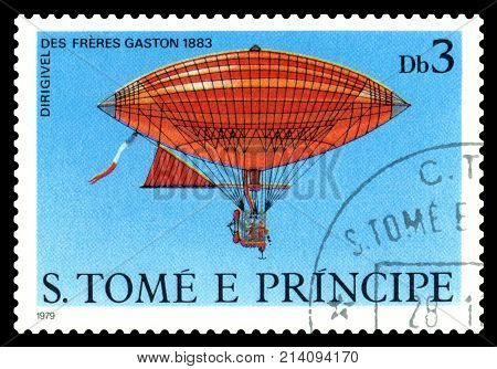STAVROPOL RUSSIA - November 11.2017: A stamp printed in Sao Tome and Principe shows an Dirigible Freres Gaston 1883 cirka 1979