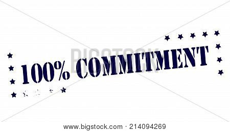 Rubber stamp with text one hundred percent commitment inside vector illustration