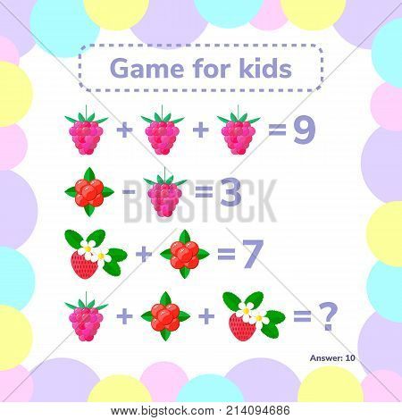 Vector illustration. Educational a mathematical game. Logic task for children. Addition, subtraction