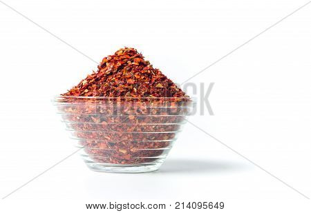 Smashed Red Pepper Powder In A Bowl Isolated