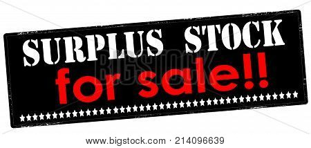 Rubber stamp with text surplus stock for sale inside vector illustration