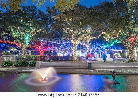Christmas And New Year Celebration Lighting In Houston, Texas, Usa. Xmas Background.