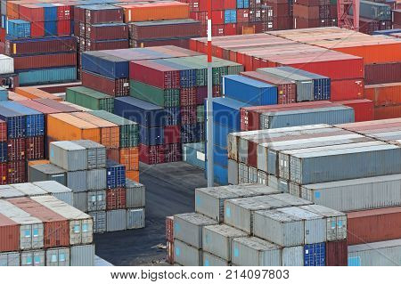 Stacked Shipping Containers at Cargo Container Terminal