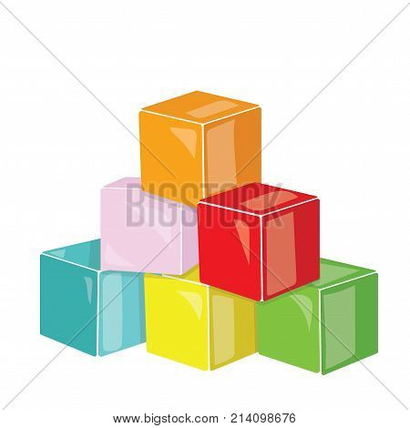 Cartoon pyramid of colored cubes. Toy cubes for children. Colorful vector illustration for kids. Art.