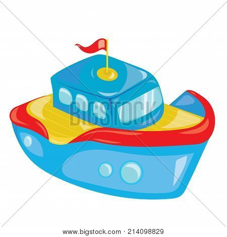 Cartoon boat on white background. A toy ship for children. Colorful vector illustration for kids. Art.