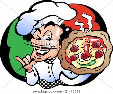 Hand-drawn Vector Illustration Of An Italien Pizza Baker