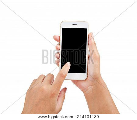 closeup hand using phone isolated on white background save clipping patch.