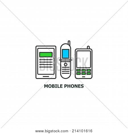 Old mobile phones recycle concept icon in line design, vector flat illustration isolated on white background.