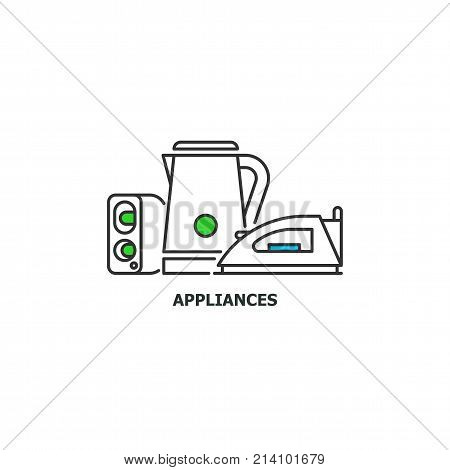 Old appliances and e-waste recycle concept icon in line design, vector flat illustration isolated on white background.
