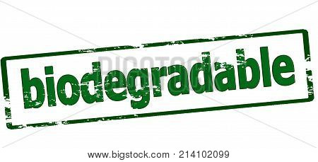 Rubber stamp with word biodegradable inside vector illustration