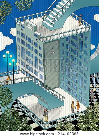 Fantastic architectural composition with a house turned inside out. The entrance door to the apartment. People walking on stairs. Raster illustration graphics