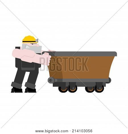 Miner And Trolley Empty Isolated. Mining Extraction Mineral. Vector Illustration