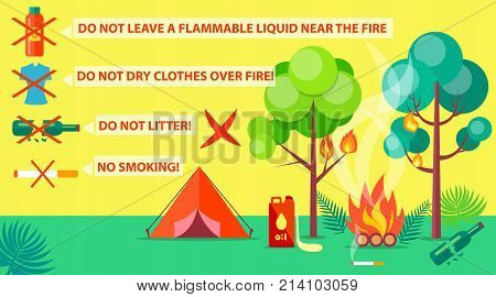 Poster of campground rules with inscriptions. Vector illustration of red tent, burning trees and bushes due to failure to comply with rules poster