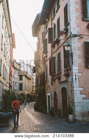 Old European Street With Architecture In Italy In The Evening On The Shores Of Lake Lago Di Garda