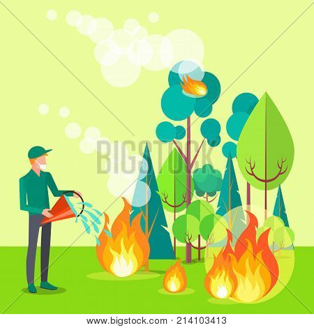 Drawing depicting civilian trying to put out fire. Vector illustration of man extinguishing wildfire that engulfed trees, bushes and grass