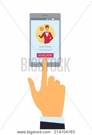 Grey smartphone and right hand with index finger on screen isolated vector illustration. Advertisement of hotel offering low prices