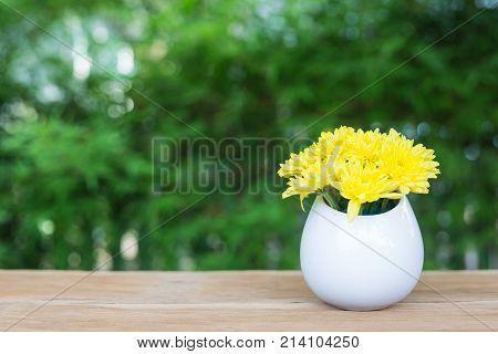 Chrysanthemum In The White Flower Vase