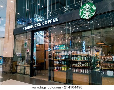 Moscow, Russia - September 9, 2017: Starbucks cafe interior in the Columbus mall