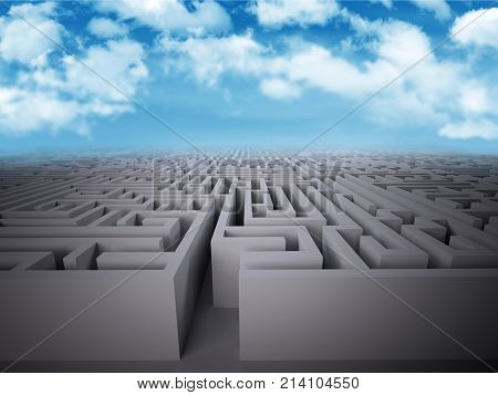 Enter In Labyrinth Structure With Sky Background