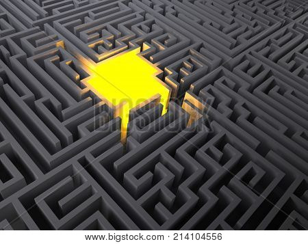 Glow Of Light In The Middle Of A Mysterious Maze