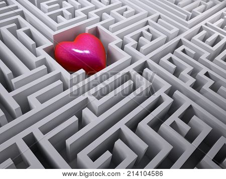 Red Heart In The Labyrinth Maze