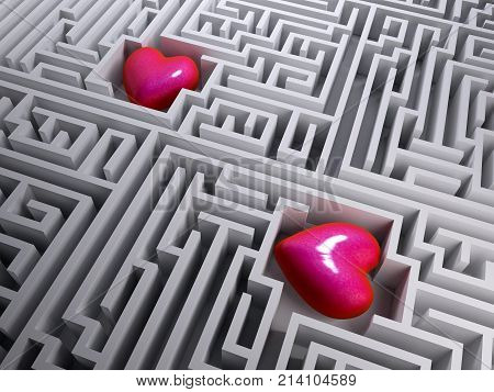 Two Red Heart In The Labyrinth Maze