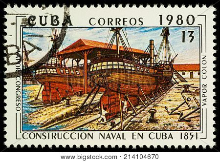 Moscow Russia - November 17 2017: A stamp printed in Cuba shows Construction of ships on Cuba (steamships