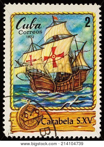 Moscow Russia - November 14 2017: A stamp printed in Cuba shows ancient sailing ship - caravel (developed in the 15th century) series