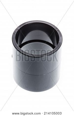 PVC - U the threaded sleeve fitting ( muff ) is isolated on white background.