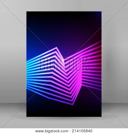 Abstract background advertising brochure design elements. Futuristic style glow neon disco club night party for elegant flyer. Vector illustration EPS 10 for layout page newsletters vertical banner