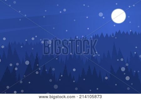 Forest at night sky. Night christmas landscape. Silhouette of pines and snow. Background for holiday cards
