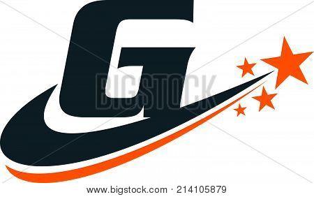 Star Swoosh Letter G Logo Design Template Vector