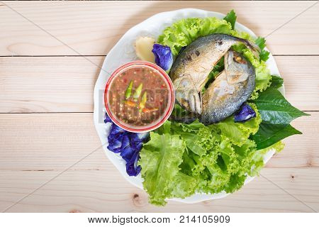 Fried Two Mackerels With Vegetable On White