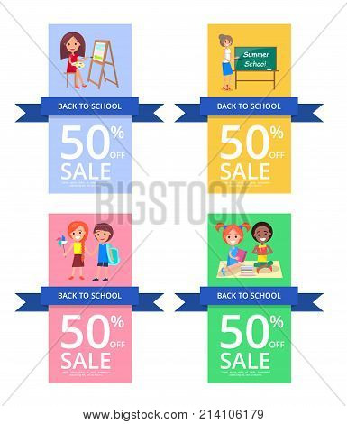 Back to school set of colourful posters. Vector illustration of teacher and students with backpacks and books. 50 percent off sale