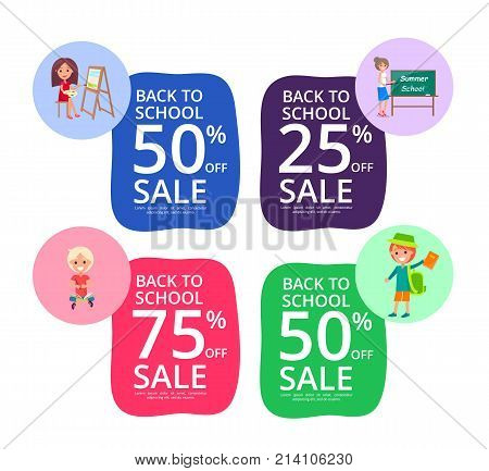 Back to school set of colorful posters with sale offer. Vector illustration of teacher and students with backpacks and books. 50 75 25 percent off sale