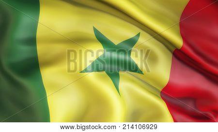 Waiving flag of Senegal, Patriot of Senegal,  illustration, 3d