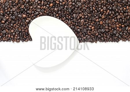 Coffee Beans On White Background In Half Frame With White Saucer