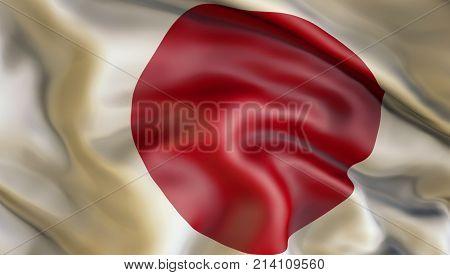 Waiving flag of Japan, Patriot of Japan,  illustration, 3d