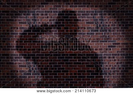 Military soldier saluting shadow on a brick wall.