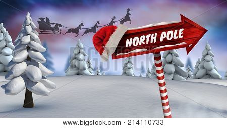 Digital composite of North Poe text on Wooden signpost in Christmas Winter landscape and Santa's sleigh and reindeer's