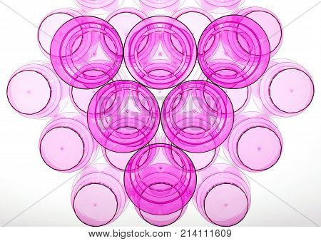 Abstract shapes of plastic magenta cups. Triangle and hexagon rounded shape. Glasses for beverages: alcohol and non-alcohol.