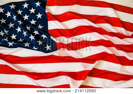 Flag of the USA. Closeup of rippled American flag. nited States of America flag. Image of the american flag flying in the wind