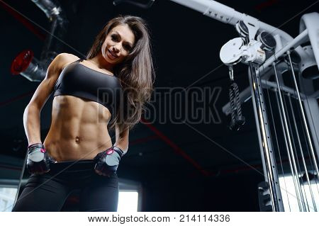 Sexy Athletic Young Girl Training Abs In Gym