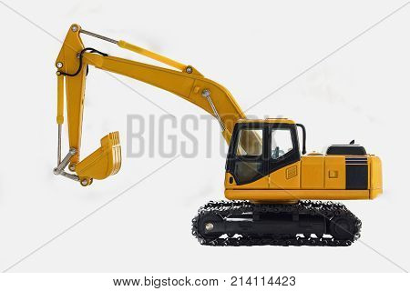 Excavator crawler loader model on white background