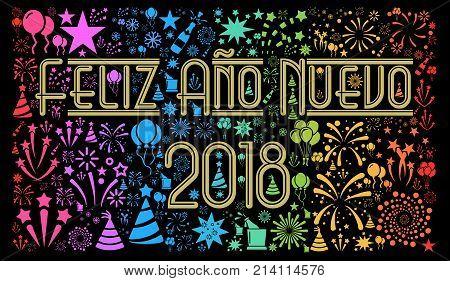 Happy New Year 2018 in Spanish illustration