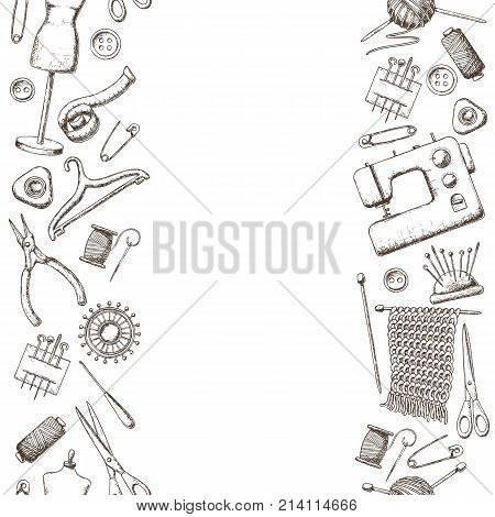 Seamless vertical borders of tools for needlework and sewing. Handmade equipment and needlework accessoriesy sketch illustration. Vector