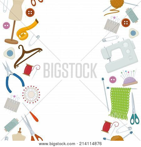 Seamless vertical borders of tools for needlework and sewing. Handmade equipment and needlework accessoriesy cartoon illustration. Vector