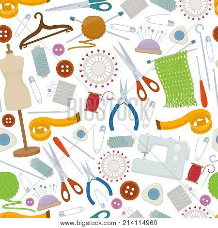 Seamless pattern of tools for needlework and sewing. Handmade equipment and needlework accessoriesy cartoon illustration. Vector